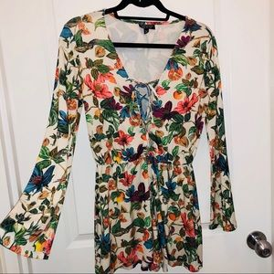 Topshop Floral Lace Up Bell Sleeve Romper
